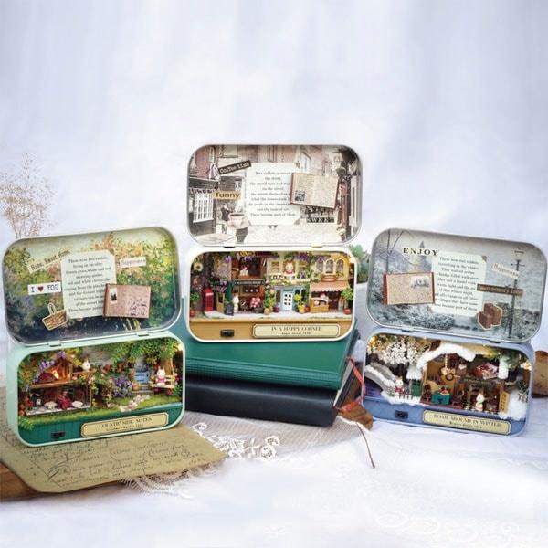 6 Themes DIY Mini Tin Box Theatre Dolls House Dollhouse Miniature Kits Toy Gift