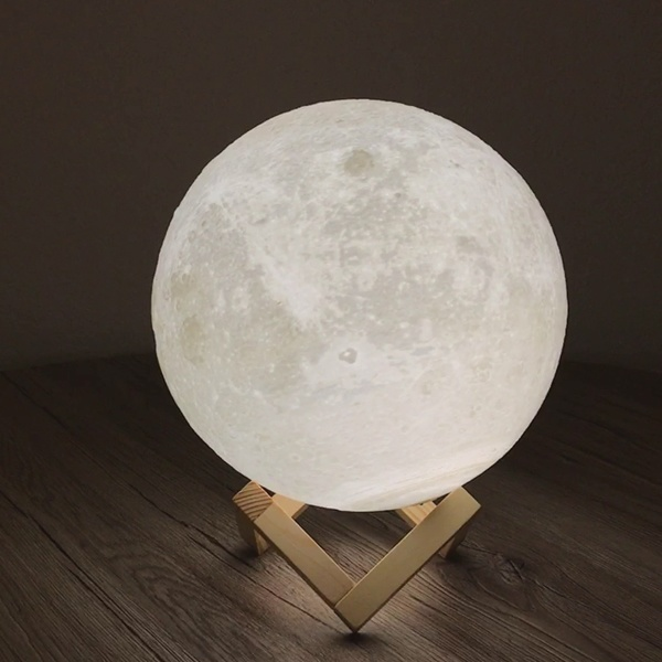Self-Conscious Moon Light 3d Printed Moon Globe Lamp 2 Colors 3d Glowing Moon Lamp With Stand Touch Control Brightness Usb Charging Security & Protection