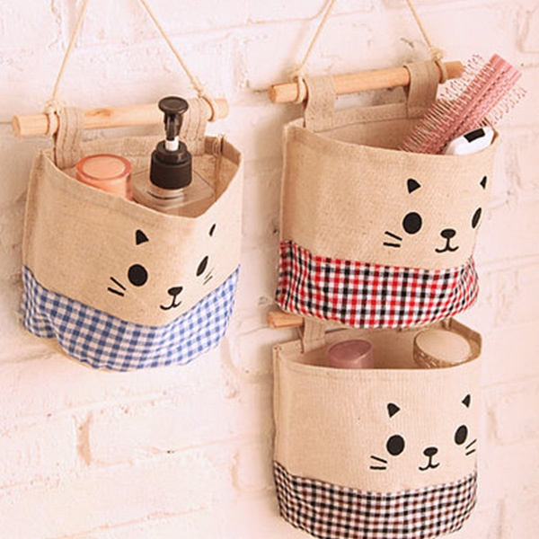 Happy Cat Hanging Storage Pockets
