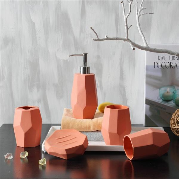 Faceted Bath Accessories Set Apollobox, Peach And Grey Bathroom Accessories