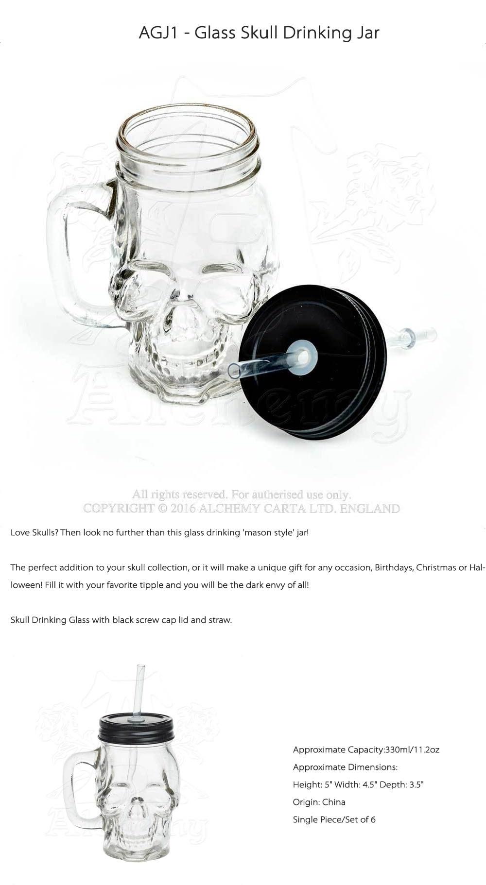 Smiling Skull Glass Drinking Jar from Apollo Box