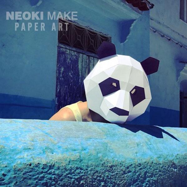 Make Panda MaskDIY 3D maskPDFPattern maskPolygon Paper | Etsy | 600x600