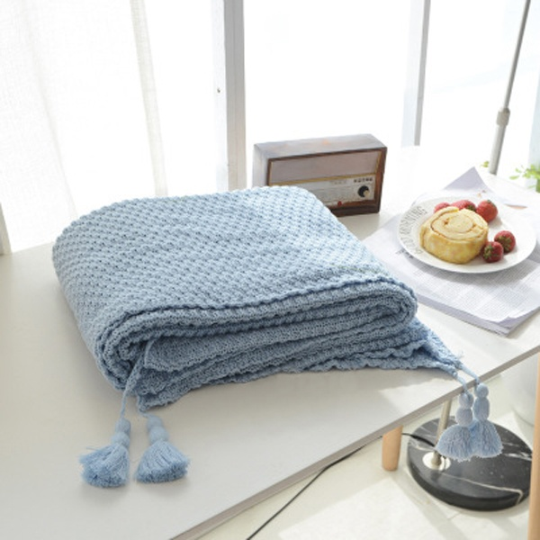 product image for Knitted Throw Blanket With Tassels