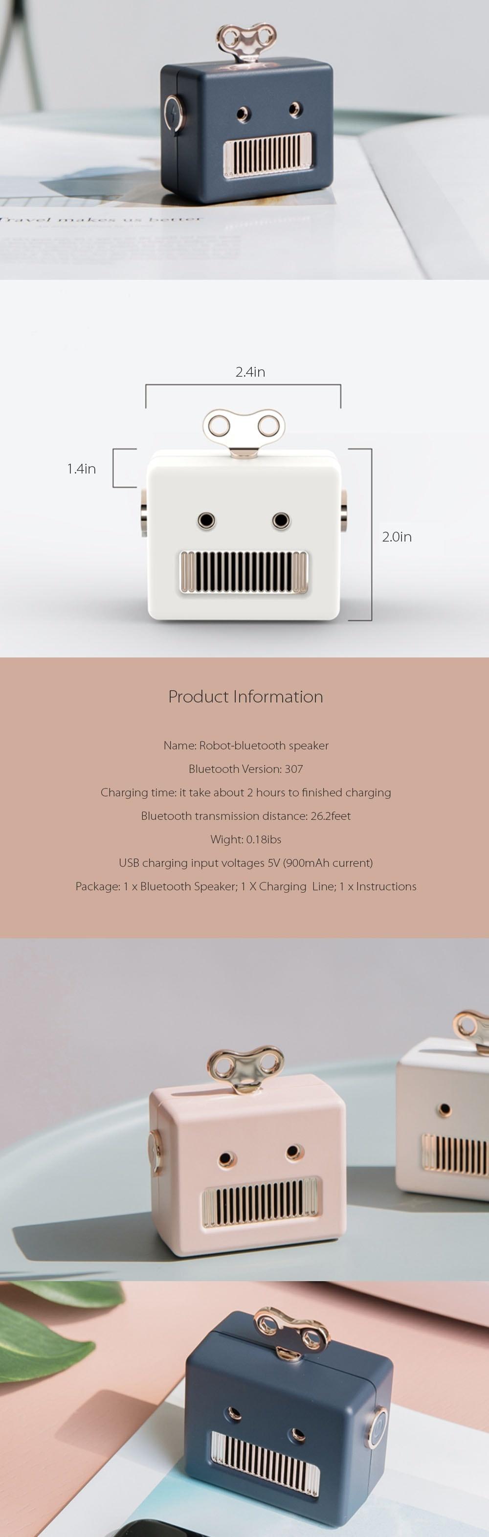 Robot Bluetooth Speaker Cute Gadget