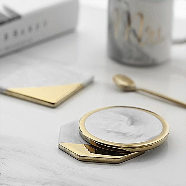 Gold Dipped Marble Coaster Apollobox