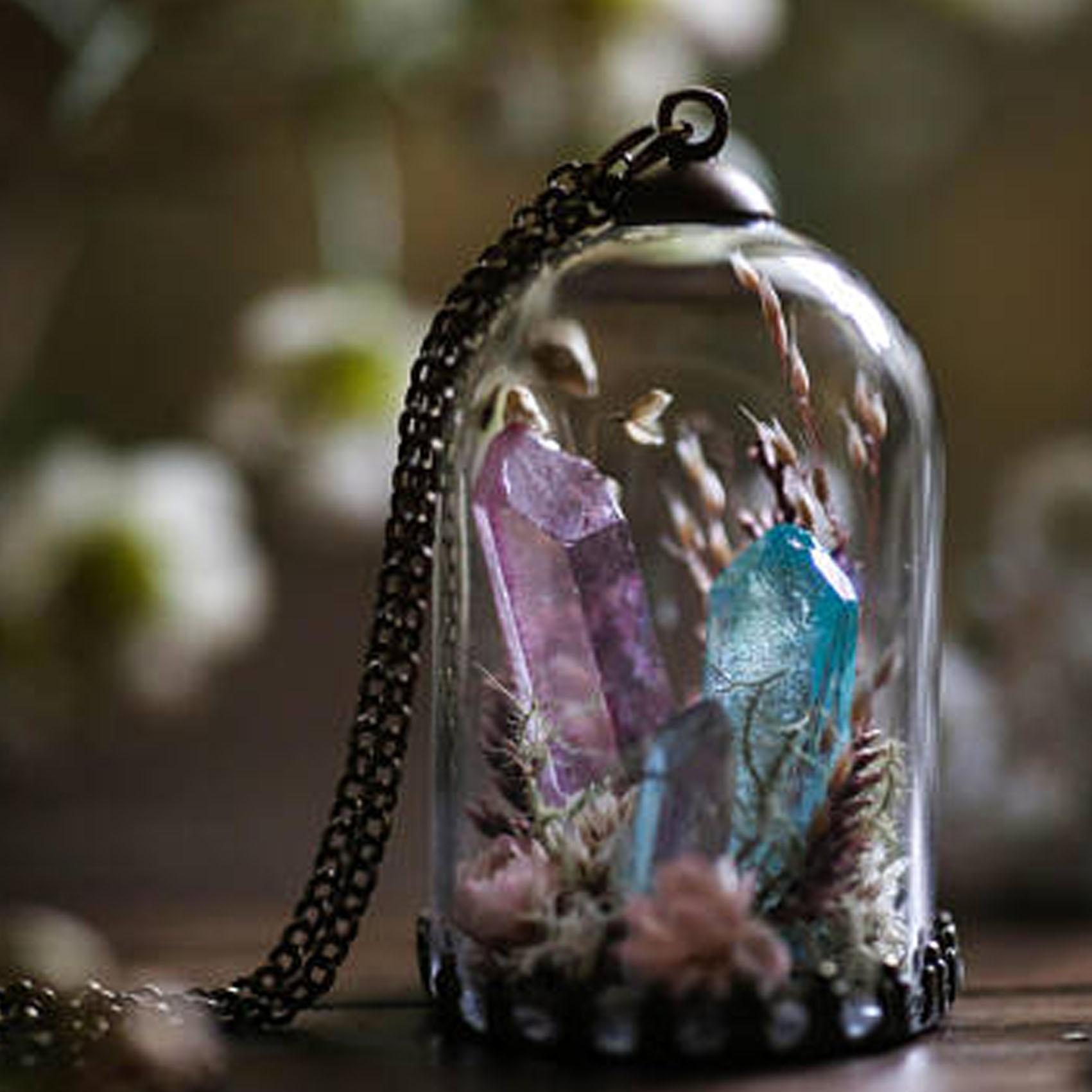 Aura Quartz Crystal Terrarium Necklace from Apollo Box