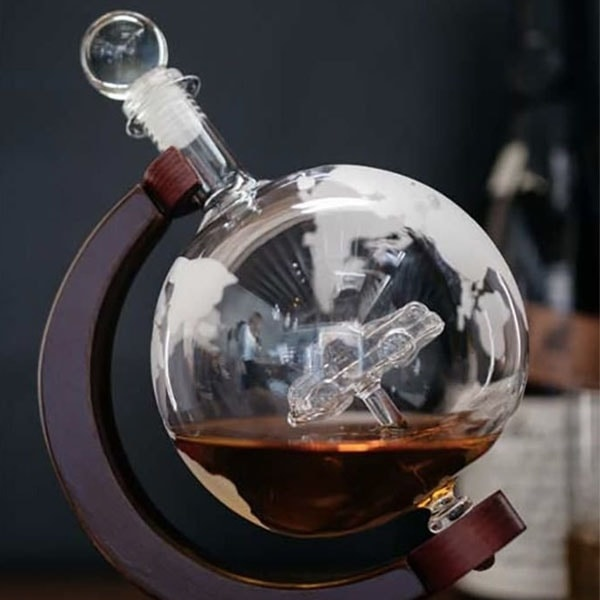 Product Thumbnail Image For Etched World Globe Whiskey Decanter