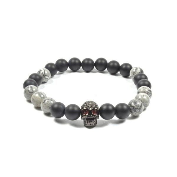 8 MM Onyx and Marble with CZ Skull Bracelet