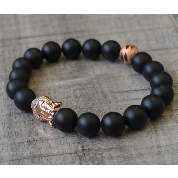 10 Mm Matte Onyx And Rose Gold Buddha